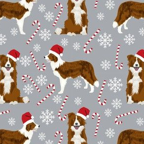 border collie dog fabric christmas red and white border collies - grey
