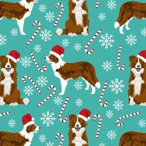 border collie dog fabric christmas red and white border collies - turquoise