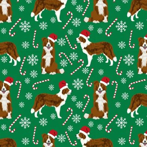 border collie dog fabric christmas red and white border collies - green