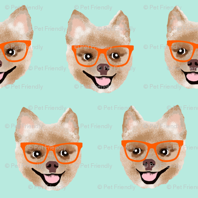 pomeranian dog fabric pom with glasses - shorthaired dog fabric - mint