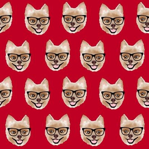 pomeranian dog fabric pom with glasses - shorthaired dog fabric - red
