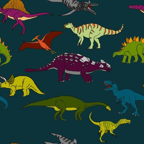 More Dinosaurs on blue