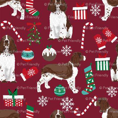 english spring spaniel dog fabric christmas dog design - ruby red