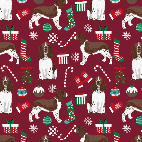 english spring spaniel dog fabric christmas dog design - ruby red fabric by petfriendly on Spoonflower - custom fabric