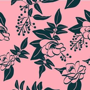 Dark Blue Camellia and Jasmine on Pink
