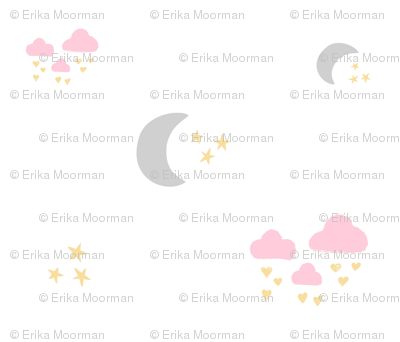 lovely gray moon clouds - pink