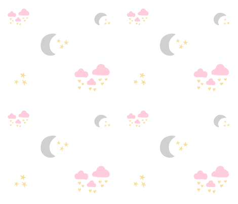 lovely gray moon clouds - pink fabric by drapestudio on Spoonflower - custom fabric