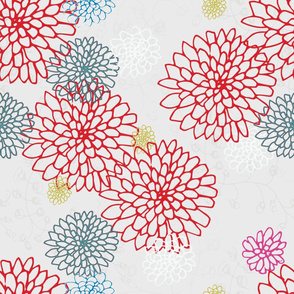 Chrysanthemums - Red and Blue on White