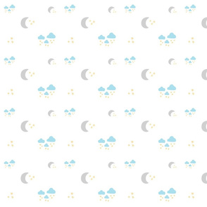 lovely gray moon clouds 525MED- sky blue