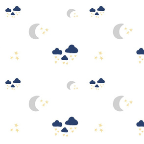 lovely gray moon clouds - navy blue