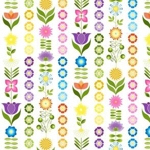 Groovy Garden Flower Rainbow Stripes