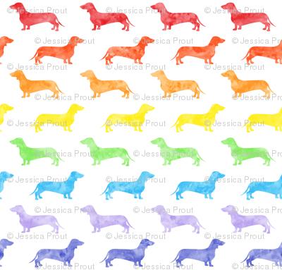 Weiner dog fabric - Dachshund -  watercolor rainbow
