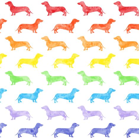 Weiner dog fabric - Dachshund -  watercolor rainbow  fabric by littlearrowdesign on Spoonflower - custom fabric