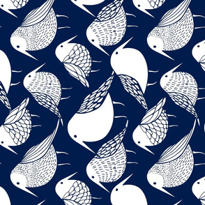 Blue Birds tea Towel Fat Quarter Blue