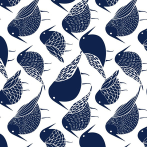 Blue Birds Tea Towel Fat Quarter
