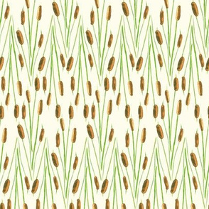 Watercolor Cattails in Chevron Pattern