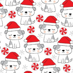 christmas-puppies on white