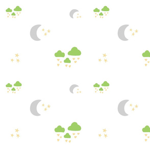 lovely gray moon clouds - green