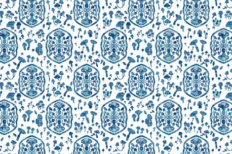 Block Print Mushrooms 1 fabric by jadegordon on Spoonflower - custom fabric