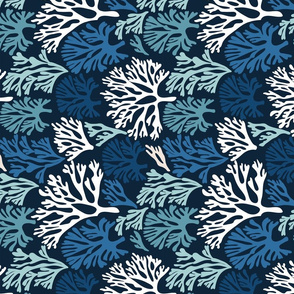 FAN_CORAL_BLUE TEA TOWEL