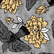 Gray Bird Block Print
