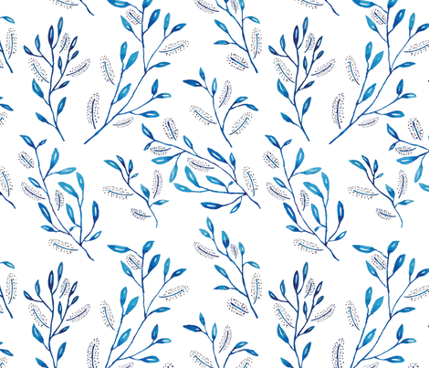 indigo leaves with small flower fabric by y_me_it's_me on Spoonflower - custom fabric