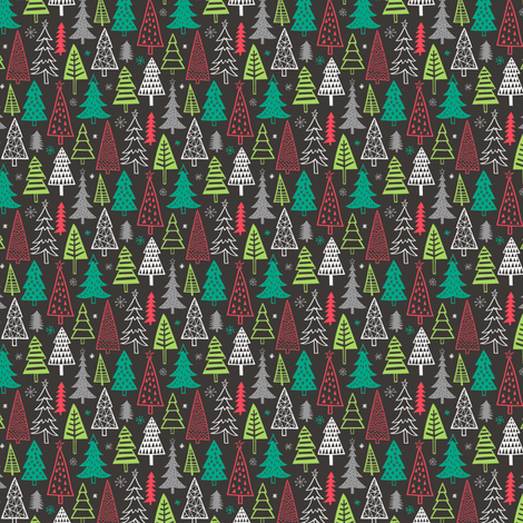 Christmas Forest Trees on Black Tiny Small 1 inch fabric by caja_design on Spoonflower - custom fabric