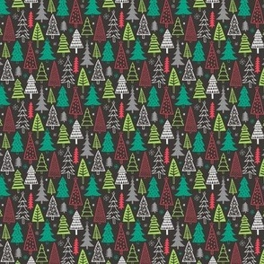 Christmas Forest Trees on Black Tiny Small 1 inch