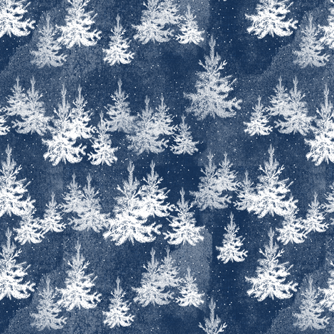 Christmas Pine Forest (navy) fabric by nouveau_bohemian on Spoonflower - custom fabric