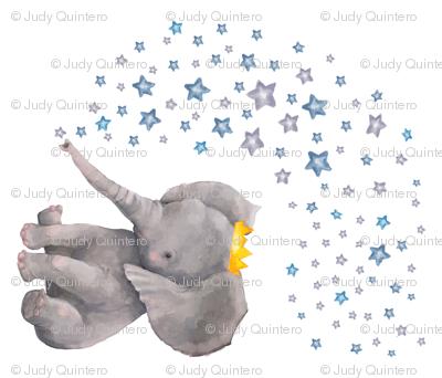 "42""x36"" Baby Elephant with Stars"