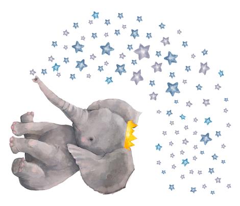 "42""x36"" Baby Elephant with Stars fabric by shopcabin on Spoonflower - custom fabric"