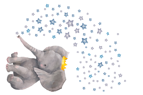"54""x36"" Baby Elephant with Stars fabric by shopcabin on Spoonflower - custom fabric"