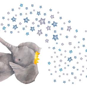 "54""x36"" Baby Elephant with Stars"