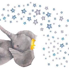 "56""x36"" Baby Elephant with Stars"