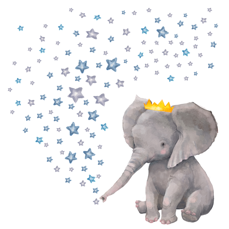"8"" Baby Boy Elephant with Stars Mix & Match fabric by shopcabin on Spoonflower - custom fabric"