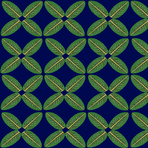 Leaf Pattern green on navy