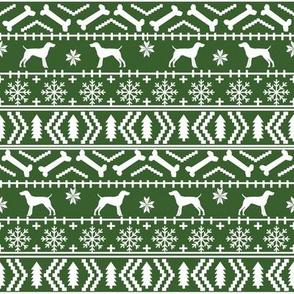 German Shorthair Pointer fair isle christmas dog silhouette fabric med green