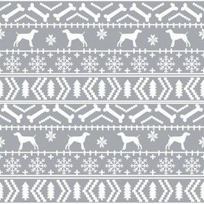 German Shorthair Pointer fair isle christmas dog silhouette fabric grey