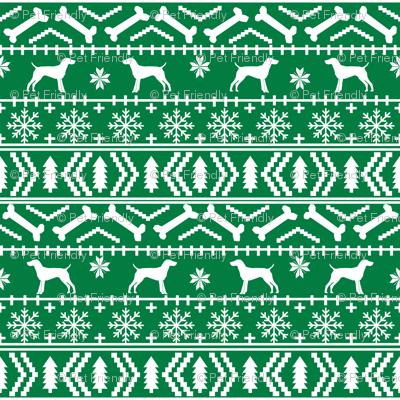 German Shorthair Pointer fair isle christmas dog silhouette fabric green