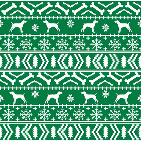 German Shorthair Pointer fair isle christmas dog silhouette fabric green fabric by petfriendly on Spoonflower - custom fabric