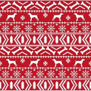 German Shorthair Pointer fair isle christmas dog silhouette fabric red