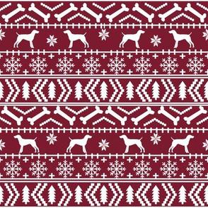 German Shorthair Pointer fair isle christmas dog silhouette fabric ruby