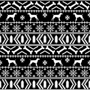 German Shorthair Pointer fair isle christmas dog silhouette fabric black and white