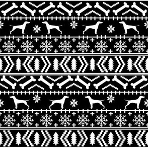 Vizsla fair isle christmas dog silhouette fabric black and white