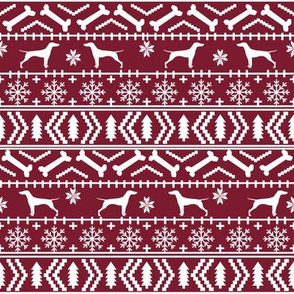 Vizsla fair isle christmas dog silhouette fabric ruby