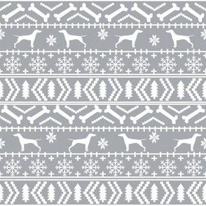 Vizsla fair isle christmas dog silhouette fabric grey