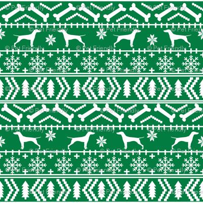Vizsla fair isle christmas dog silhouette fabric green fabric ...