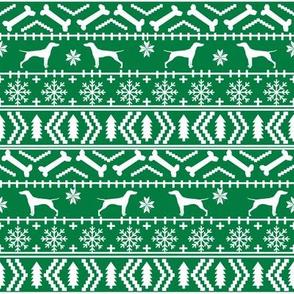 Vizsla fair isle christmas dog silhouette fabric green
