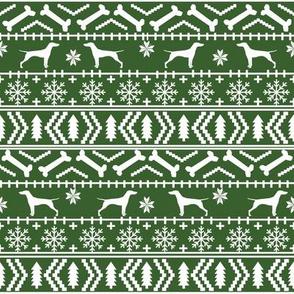 Vizsla fair isle christmas dog silhouette fabric med green