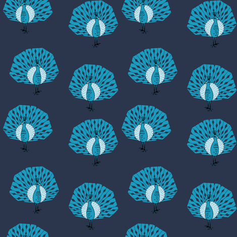 peacock fabric // bird animal peacocks nature design birder - blues fabric by andrea_lauren on Spoonflower - custom fabric
